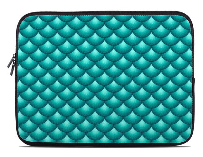 Fish Scales Print Laptop Cover in teal