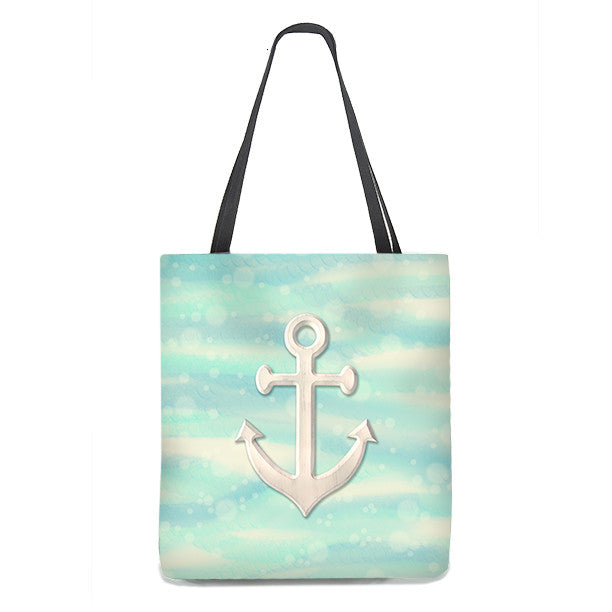 Anchor Tote Bag on sea and sand with bubbles