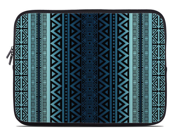 Tribal Pattern Laptop Cover in blue ombre