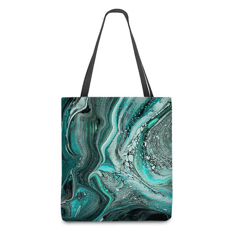 Marbled Tote Bag in Turquoise