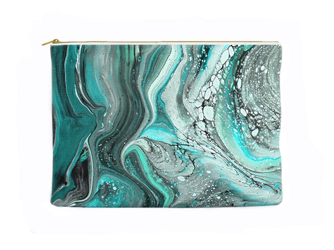 Turquoise Marbled Zippered Pouch