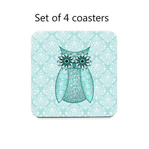 Owl Coasters Set, in assorted colors