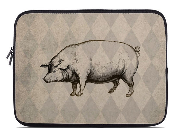 Vintage Style Pig Laptop Cover