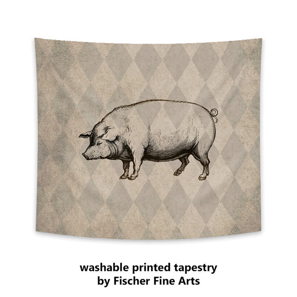 Rustic Pig Wall Tapestry