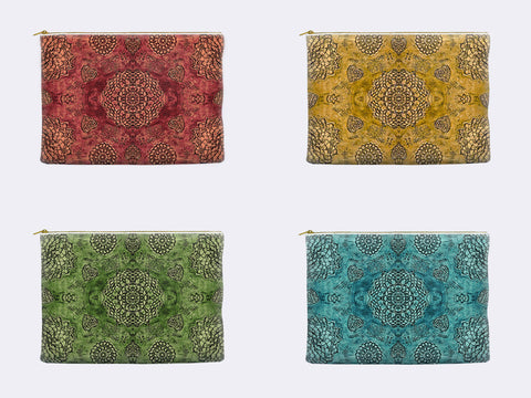 Bohemian Lace Print Zippered Pouch color selection
