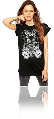 "FRESH N' CRISP™ ""FACEOFF MAUS"" WOMEN'S BLACK CREWNECK"