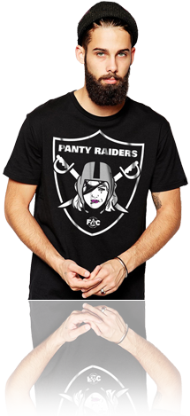 "FRESH N' CRISP™ ""PANTEE RAIDERS"" MALE BLACK CREWNECK"