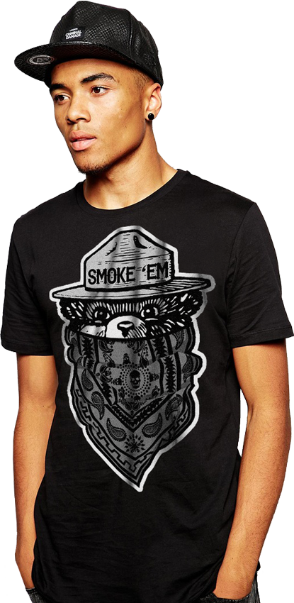 "FRESH N' CRISP™ ""SMOKE 'EM THE BEAR"" UNISEX BLACK CREWNECK"