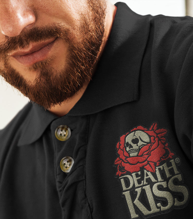 DEATH KISS® Embroidered Color Logo Black Unisex Piqué Polo Shirt