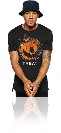 "FRESH N' CRISP™ ""TREAT"" HALLOWEEN UNISEX BLACK CREWNECK"