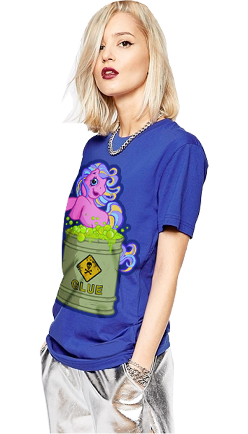 "FRESH N' CRISP™ ""POOR LIL PONY"" HALLOWEEN UNISEX BLUE CREWNECK"