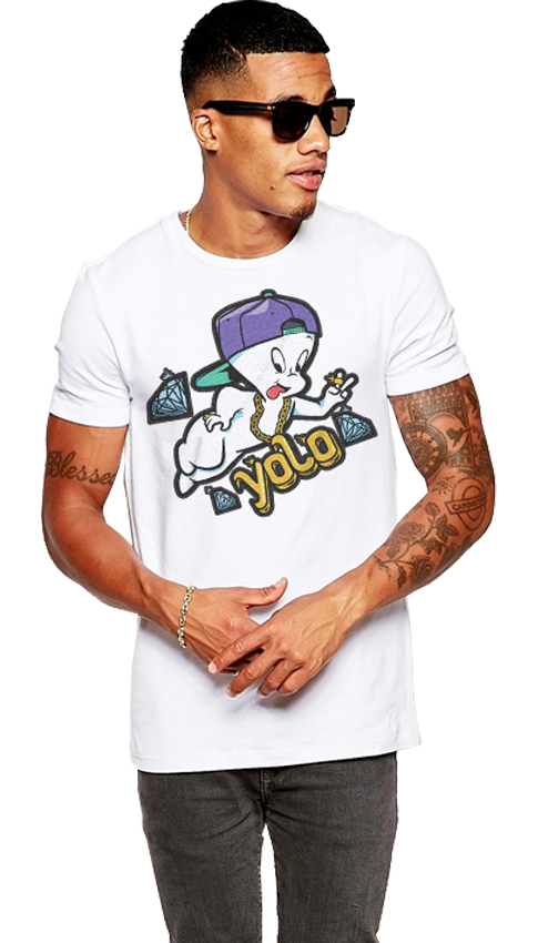 "FRESH N' CRISP™ ""YOLO GHOST"" HALLOWEEN UNISEX WHITE CREWNECK"