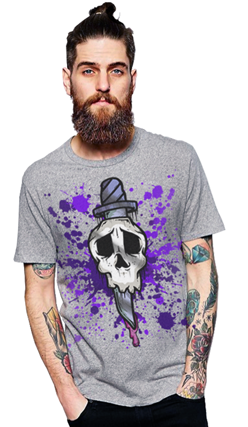 "FRESH N' CRISP™  + JONEZY ARTWORK ""KILLA HEADACHE"" JUMBO PRINT UNISEX ASH GREY CREWNECK"