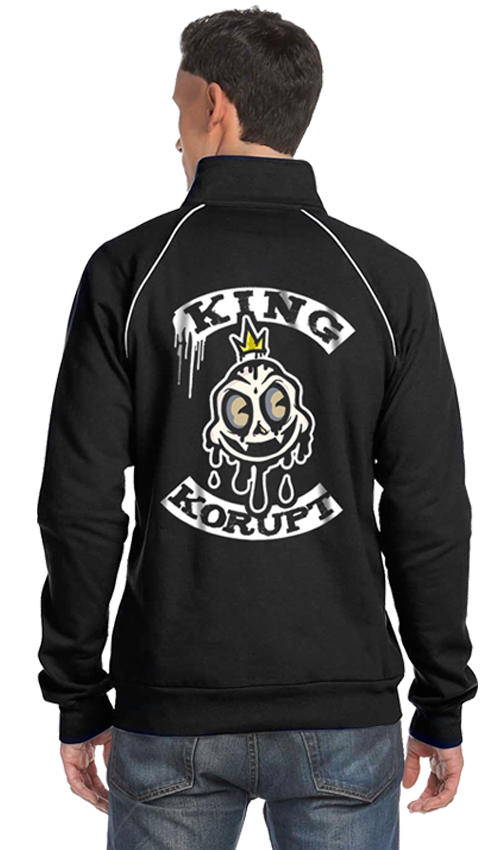 "FRESH N' CRISP™  + JONEZY ARTWORK ""KING KORUPT"" MEN'S BLACK TRACK JACKET"