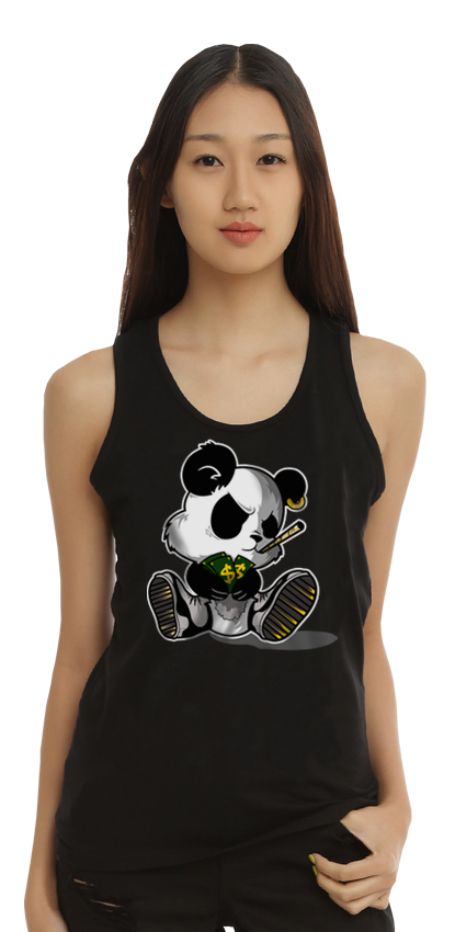 "FRESH N' CRISP™ ""PANDAMONIUM"" UNISEX BLACK TANKS"