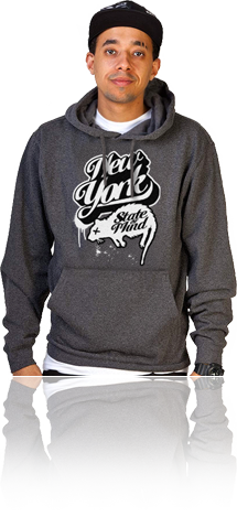 "FRESH N' CRISP™ ""NEW YORK STATE OF MIND"" CHARCOAL HEATHER HOOD SWEATSHIRT"