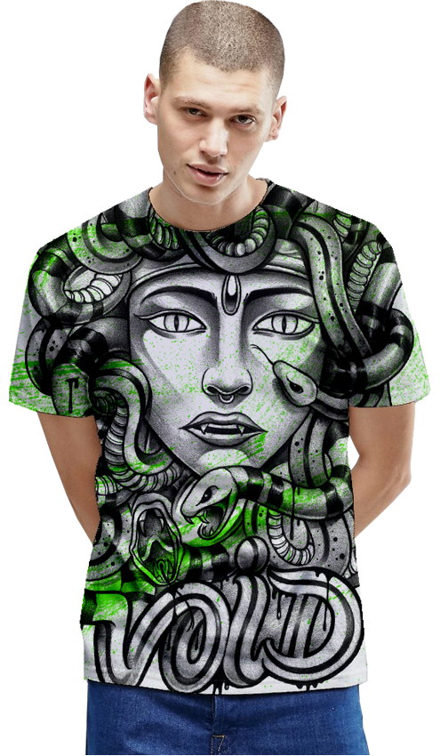 "FRESH N' CRISP™ ""MEDUSA"" UNISEX ALL-OVER PRINT T-SHIRT"