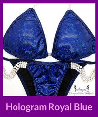 Hologram royal blue competition bikini