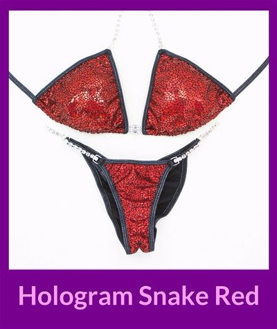 Hologram Snake Red Angel Competition Bikinis