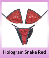 Angel Competition Bikinis Hologram Snake Red