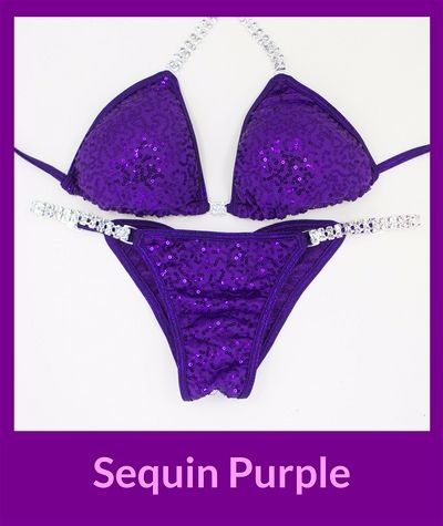 Sequin Purple Angel Competition Bikinis