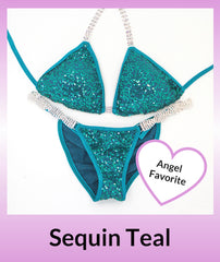 Angel Competition Bikinis Sequin Teal Angel Favorite