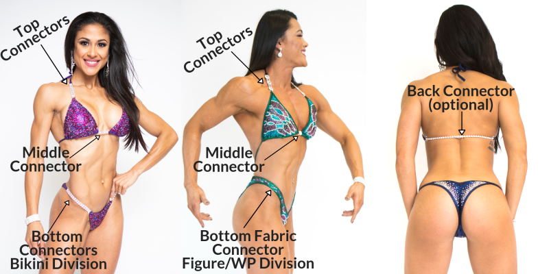 bikini connectors for competition suit, high quality bikini connectors from Angel Competition Bikinis