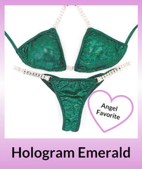 Angel Competition Bikinis Hologram Emerald