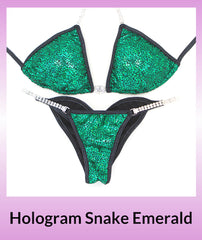 Angel Competition Bikinis Hologram Snake Emerald