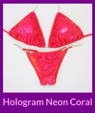 Hologram Neon Coral Angel Competition Bikinis