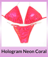 Angel Competition Bikinis Hologram Neon Coral