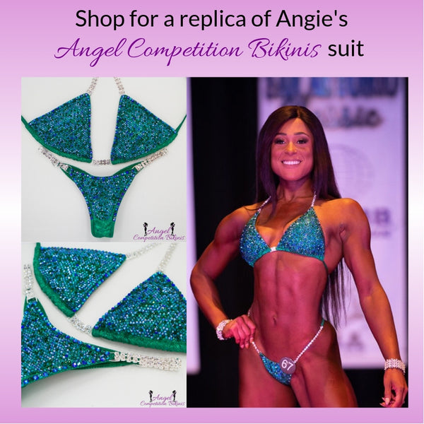 Angel Competition Bikinis Sponsored Athlete Angie Okon Angel Pro Multi Color Peacock