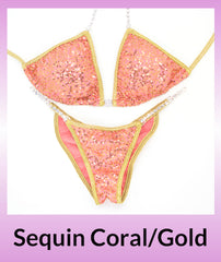 Angel Competition Bikinis Sequin Coral/Gold