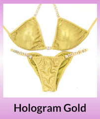 Angel Competition Bikinis Hologram Gold