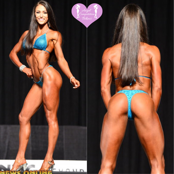 Angel Competition Bikinis Hannah Osmon Hologram Teal NPC Bikini Suit IFBB Figure Suits and Bikinis