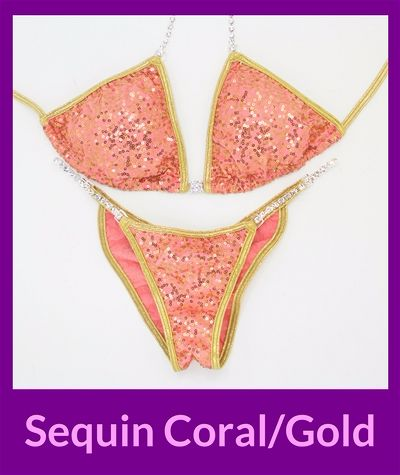 Sequin Coral Gold Angel Competition Bikinis