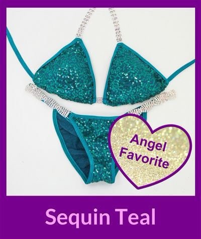 Sequin Teal Angel Competition Bikinis