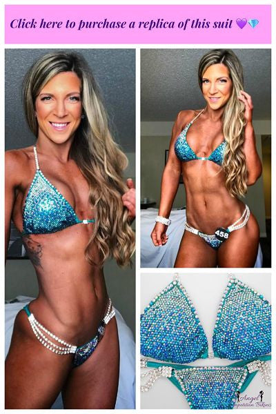 Angel Competition Bikinis sequin teal suit
