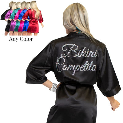 Competition robe for npc bikini competition, backstage competition robe, what do I need for fitness competition, angel competition bikinis robes