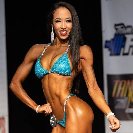 Natalie Matthews @fitveganchef fit vegan bikini competitor physique competition figure show angel competition bikinis suits crystals crystallized pro brazilian