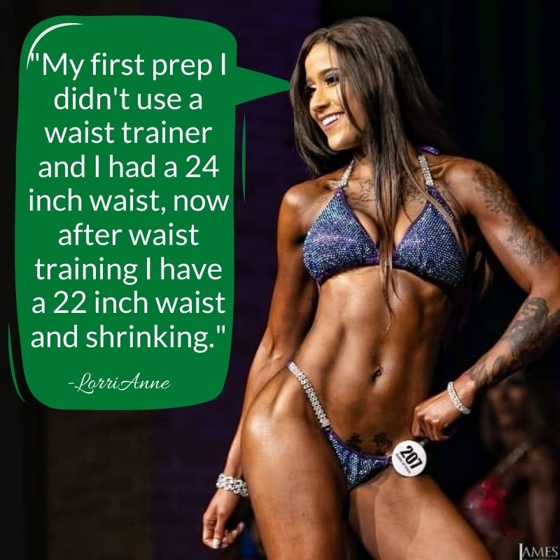 Waist trainers for bikini competitors, waist trainer for npc bikini, corset training for competition, lose inches from waist training