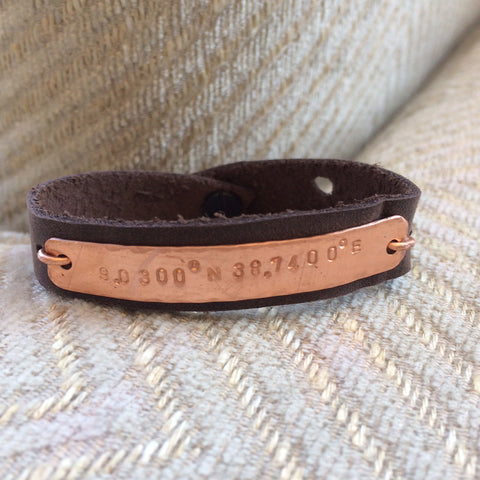 GPS Coordinates Leather Bracelet