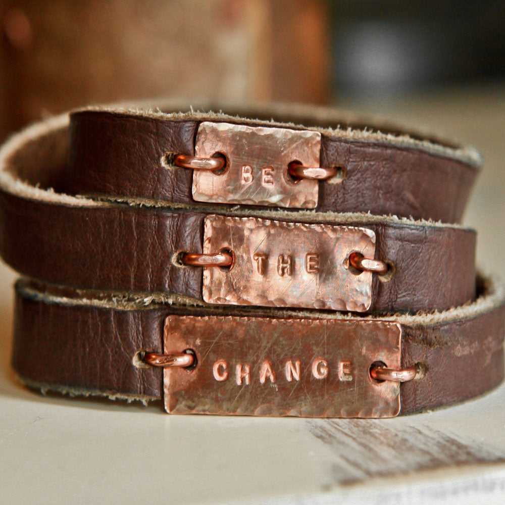 Copper and Brown Leather Reminder Wrap Bracelet