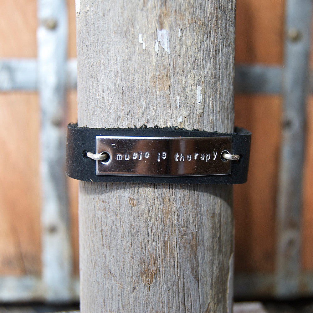 Music Is Therapy - Black Leather Wrap