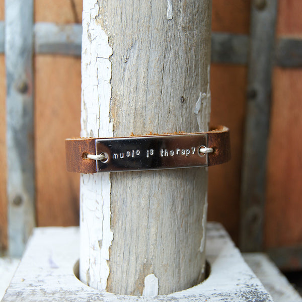 Music Is Therapy - Brown Leather Wrap