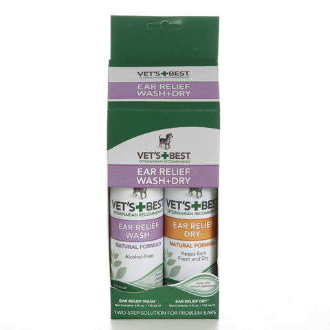 Hollywood Feed - Vet's Best Ear Relief Wash + Dry - 2pk - Ear Cleaner