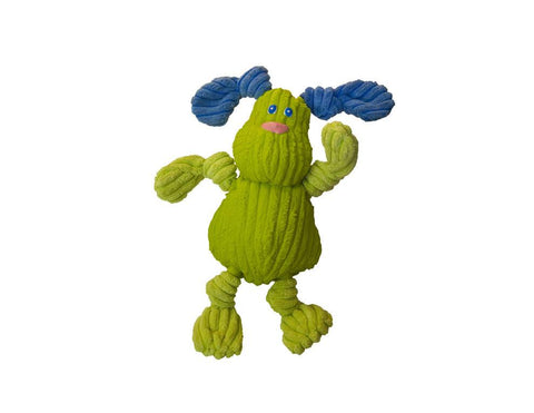 Huggle Hounds - Plush Corduroy Durable Rubber Squeaky Ruff-Tex Bugsy Dog Toy, Lime
