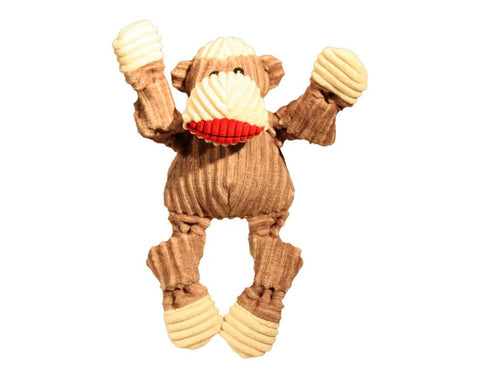 Huggle Hounds - Plush Corduroy Durable Sock Monkey Knottie Dog Toy