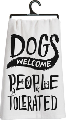Primitives By Kathy - Dish Towel - Dogs Welcome