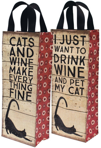Primitives By Kathy - Wine Tote - Cats and Wine